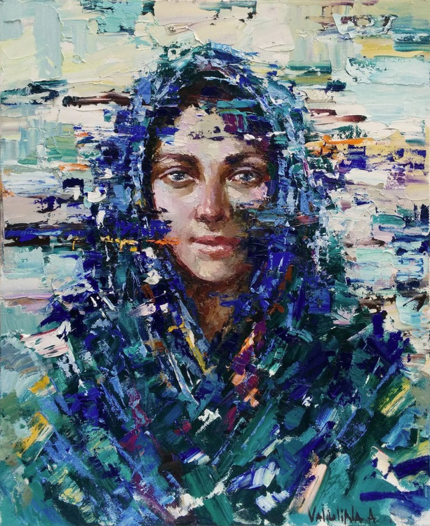 Russian girl Original abstract portrait painting on canvas - Image 0