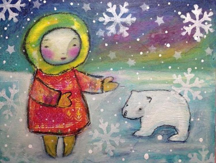 Girl and Polar Bear Beneath the Northern Lights - Image 0