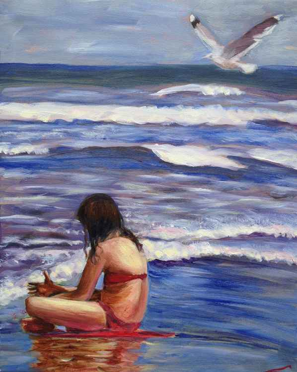 Girl and a seagull -