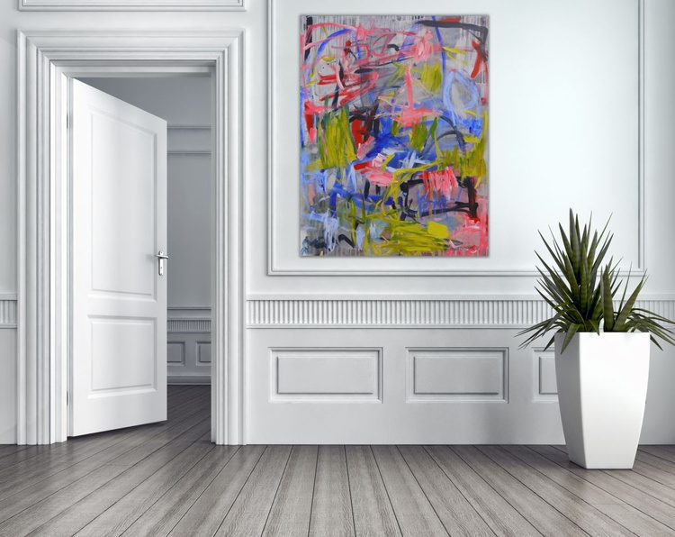 Tune of Spring #1 | abstract | 100 x 80 cm | grey pink green blue red - Image 0