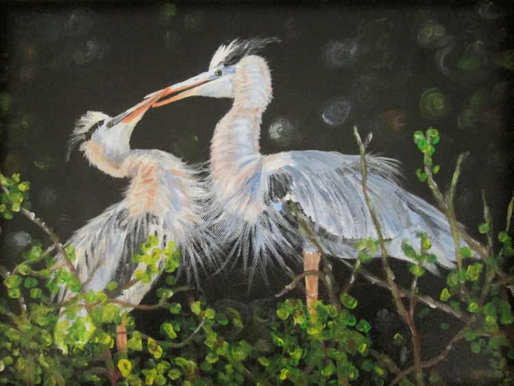 """""""BLUE HERONS IN LOVE"""", 40×30cm, ready to hang - Image 0"""