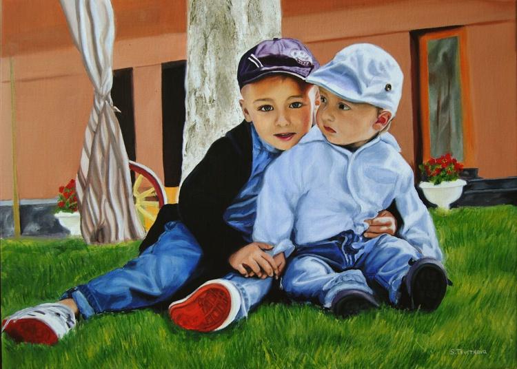 Custom Double  Portrait, Canvas painting, Child Custom portrait, Children painting - Image 0