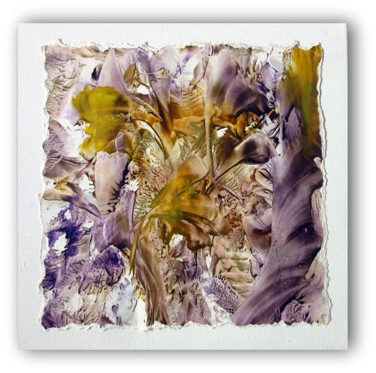"""""""Abstracted Nature #2"""" 12""""x12"""" Encaustic Painting - Image 0"""