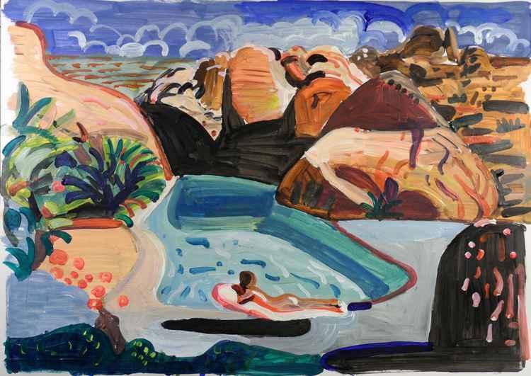 desert pool scene -