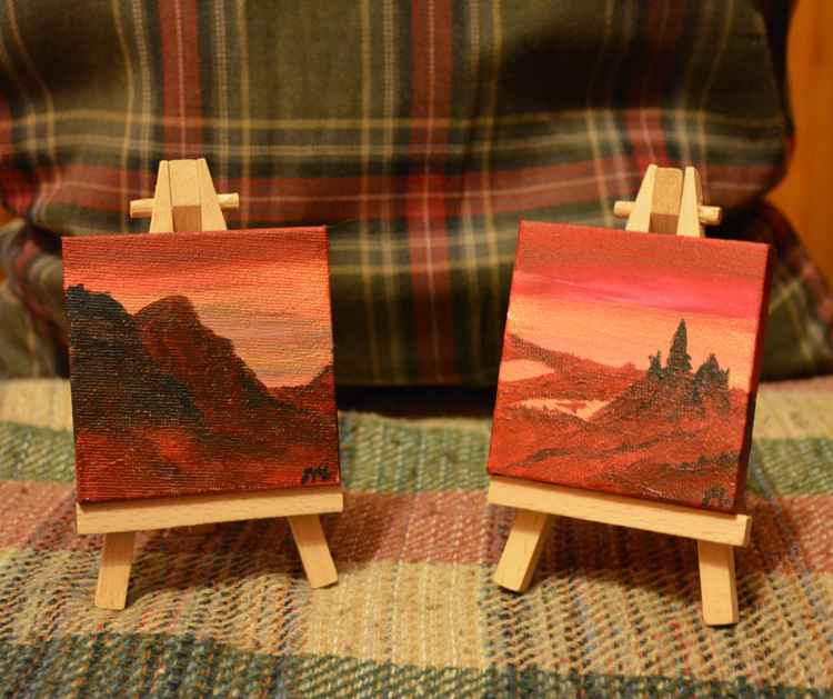 Glencoe and the Old Man of Stoer (2 paintings on easel's ) -