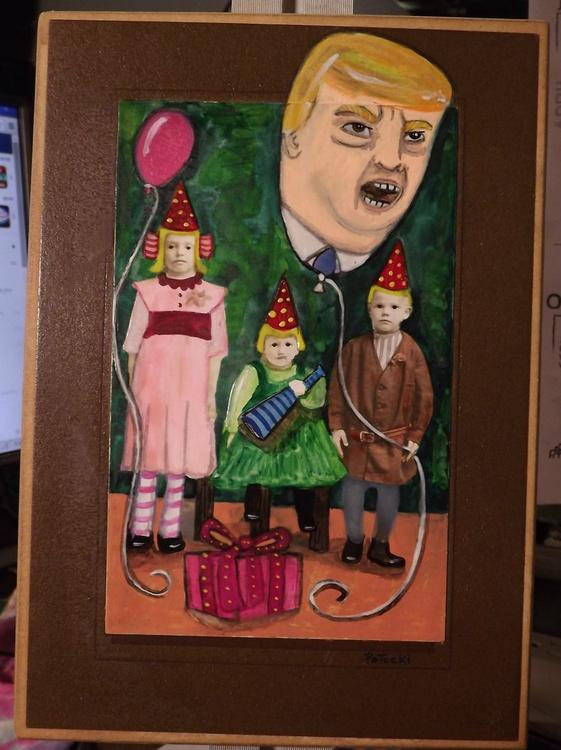Republican Politician Balloon Head Made the Children Sad Original Watercolor Painting - Image 0