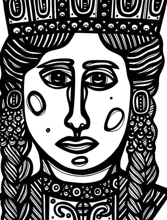 Regal Woman Crown Original Drawing -