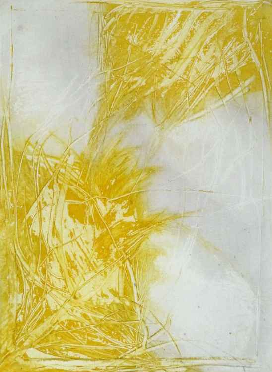 Yellow abstract, ink on paper 21x28 cm -