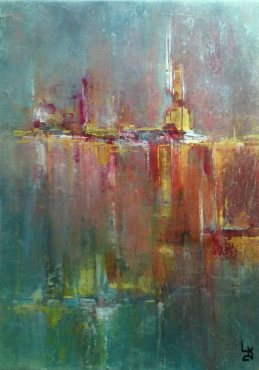 CITY SOUNDS Abstract Cityscape Canvas Painting - Contemporary Acrylic Original Painting On Stretched Canvas - Image 0