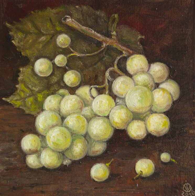 Green Grapes (15x15 cm) original oil painting little still life realistic vintage style small gift kitchen decor - Image 0