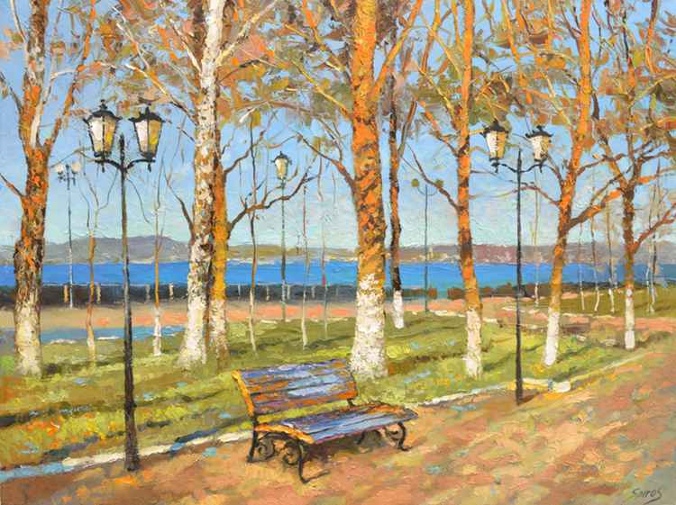 Bench -  Urban & pop art Paintings, Oil painting by Dmitry Spiros. 60cm x 80 cm -