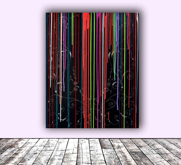 Tears of the Rainbow Large Painting XL - Big Painting - Ready to Hang - Image 0