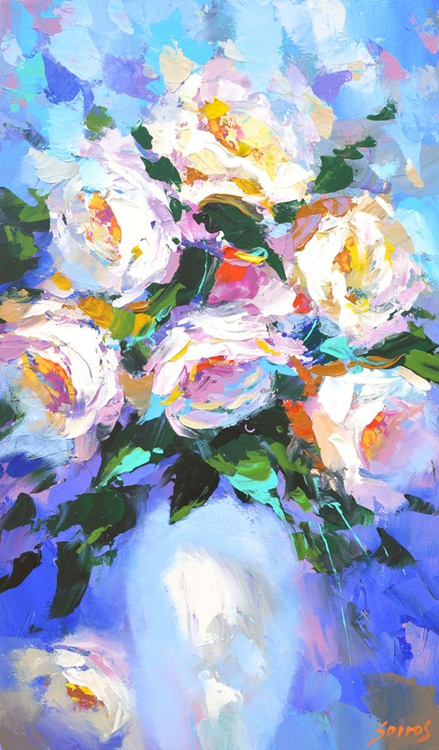 Flowers in a white vase by Dmitry Spiros - Image 0