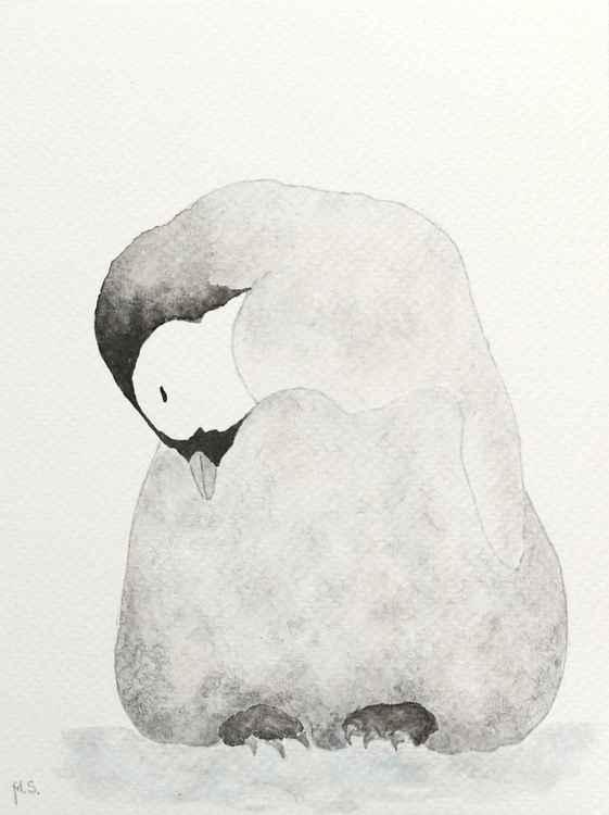 Sleeping emperor penguin chick -