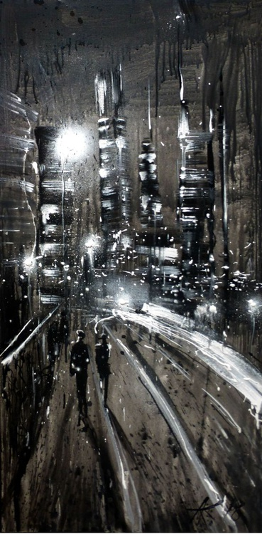 Night City. Black and White, original painting 60x120 cm, ready to hang! - Image 0