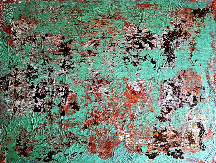 Senza Titolo 183 - green copper - abstract landscape - ready to hang - 102 x 77 x 2 cm - acrylic painting on canvas - Image 0