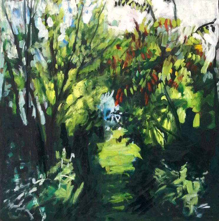 Sunlit Path, Medium size, Impressionistic Original Oil - Image 0