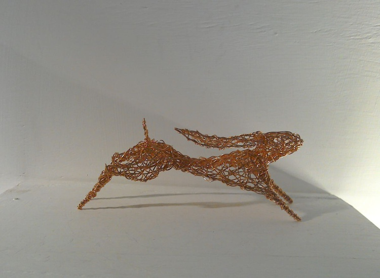 Small Copper Running Hare Sculpture - Image 0