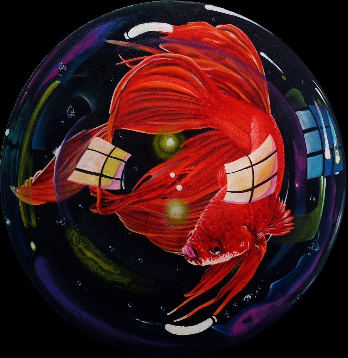 Betta fish 5 2016 oil painting by julian arsenie for Betta fish painting
