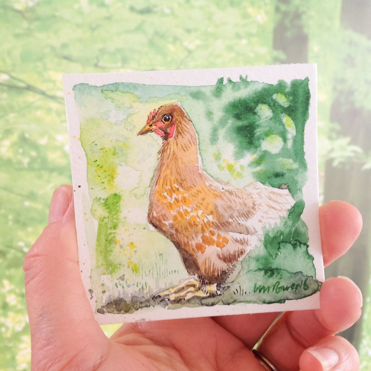 Watchful Brown hen - miniature watercolour - Image 0