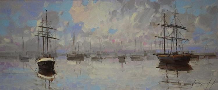 Harbor Original oil painting  Handmade artwork One of a kind - Image 0