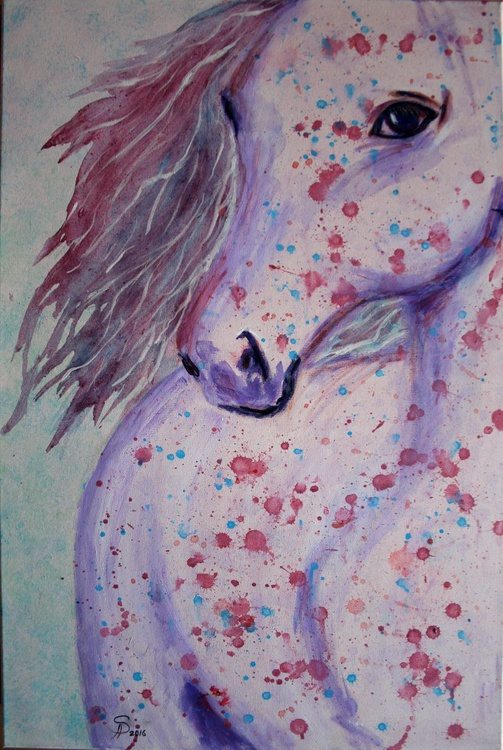 Pop art horse, interior painting watercolor technique - Image 0