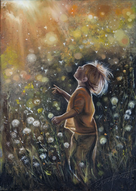 """Dandelion"",original oil painting 50x70cm, ready to hang - Image 0"