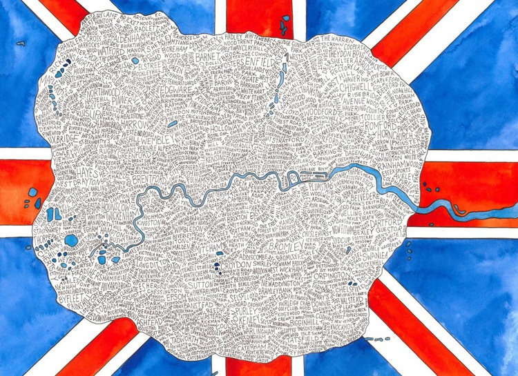 London Word Map (Inside the M25) - Image 0