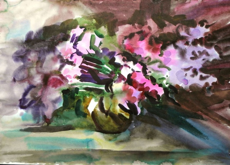 Lilac, watercolor 78x58 cm - Image 0