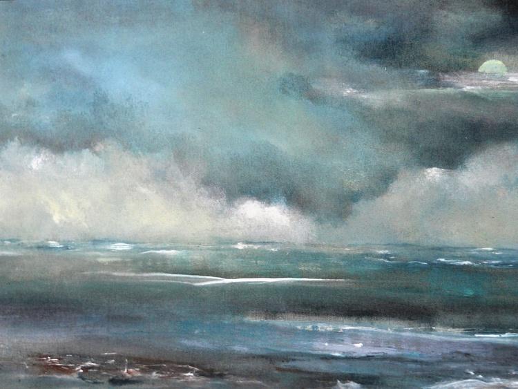 Seascape/Cloudscape on fine linen - Image 0