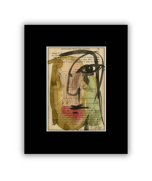 """I See 25"" on Antique Book Page - Abstract Watercolor Painting -"