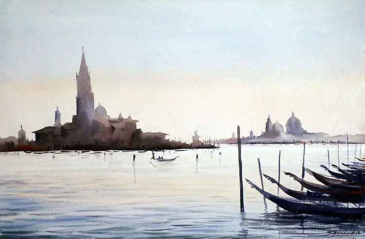 Venice at Early Morning - Watercolor Painting