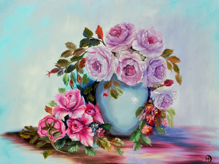 Pink skyes and roses - Image 0