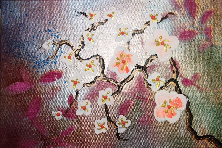 lilac Cherry blossom a36 30x20cm floral painting flowers decor original floral art acrylic on stretched canvas spring sakura art wall art by artist Ksavera - Image 0