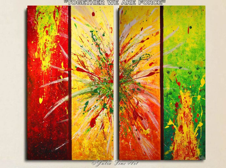 Original Huge Contemporary Hand-painted Acrylic Rich Texture Abstract Diptych ''Together we are force'' - Image 0