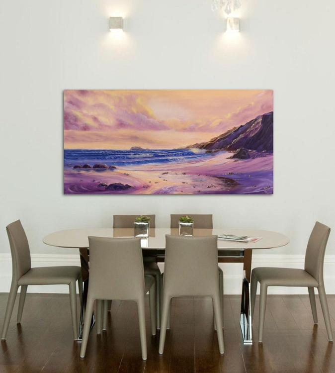 Inspired, Large Panoramic Seascape Oil Painting on Canvas, XL Ocean Art, Lavender Ocean Waves Painting - Image 0