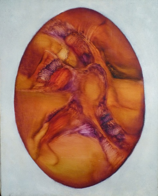 Oval abstract, oil on canvas 65x81 cm - Image 0