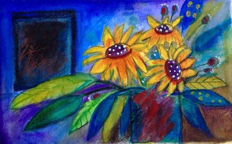 Sunflowers by the Night window -