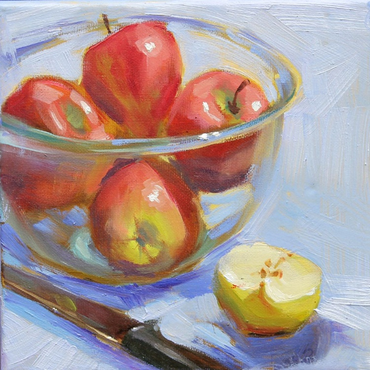 Apples in a glass bowl - Image 0