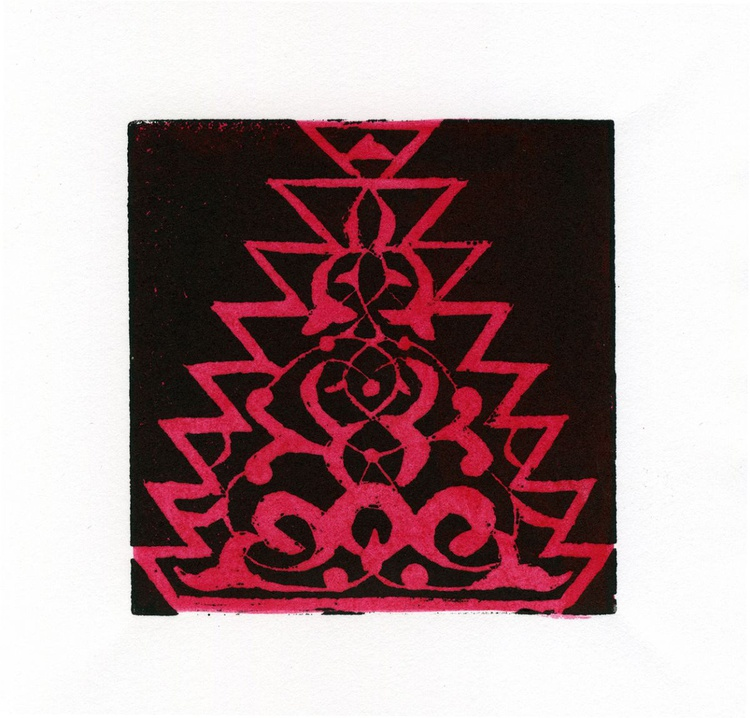 Alhambra II Linocut Hand Pulled Original Relief Print Edition of 30 - Image 0