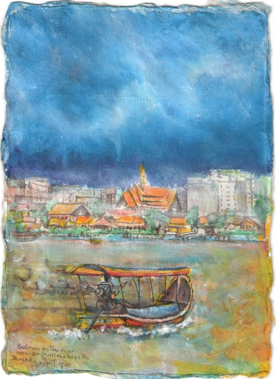 Boatman on the river, never far from the big city, Bangkok - Image 0