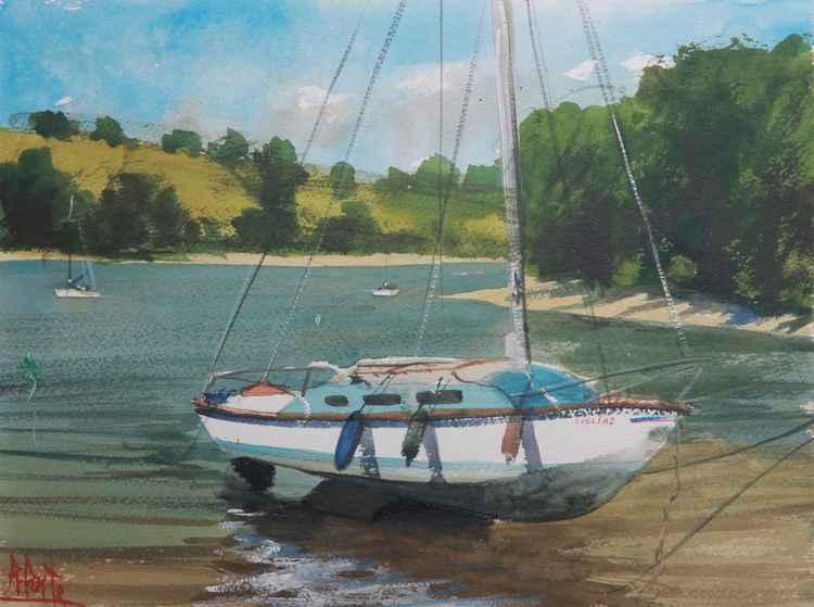 Boat moored on the River Dart at Dittisham Quay, Devon, England