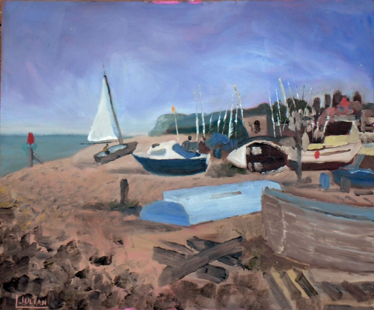 Boats at Walmer near Deal, Kent - An original painting - Lovely Gift Idea! - Image 0