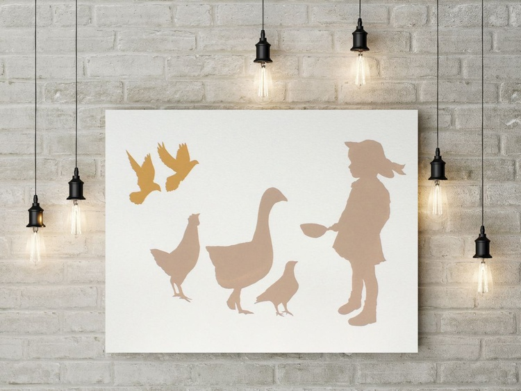 GIRL WITH BIRDS-unframed-FREE WORLDWIDE DELIVERY - Image 0