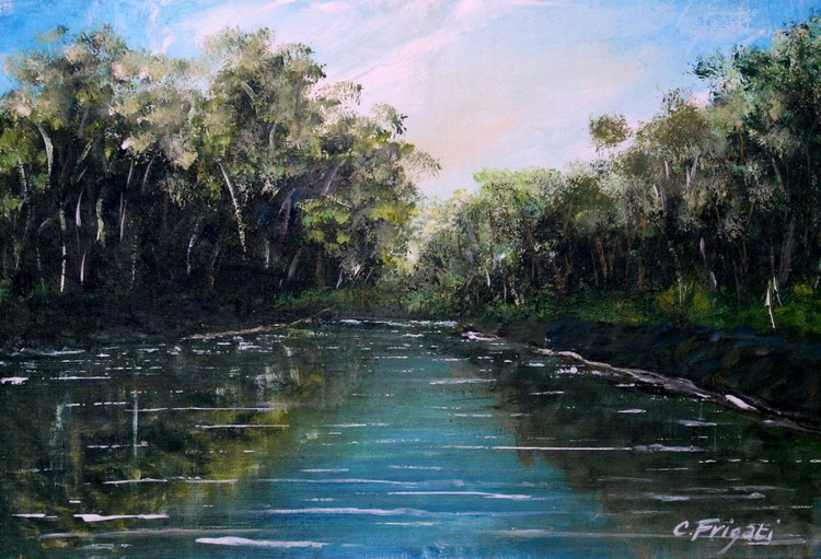 Summer on the river bank - Original Plein Air Painting - Image 0
