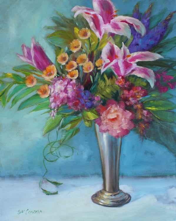 Stargazer Lilies in Silver Vase