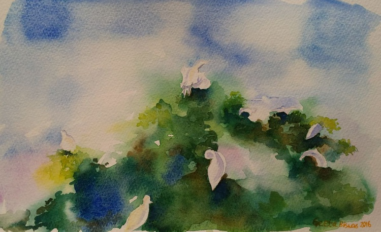 Egrets, impressionistic watercolor, small painting, gift, home decor - Image 0
