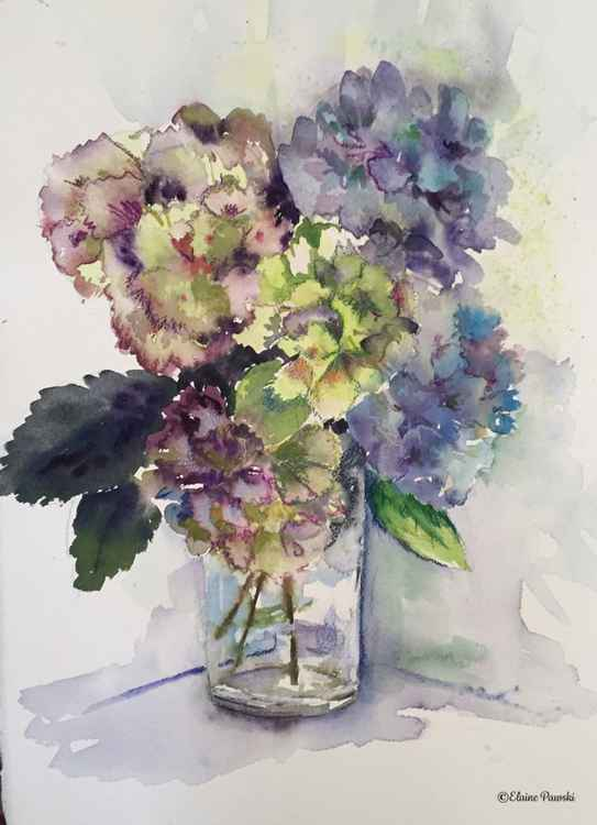 Hydrangeas in glass jar