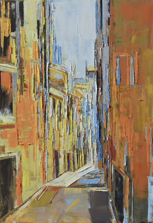 """Original oil painting, canvas art, """"Perspective of the city VII"""". Size 39.37 x 27.5 inch (100/70cm). - Image 0"""