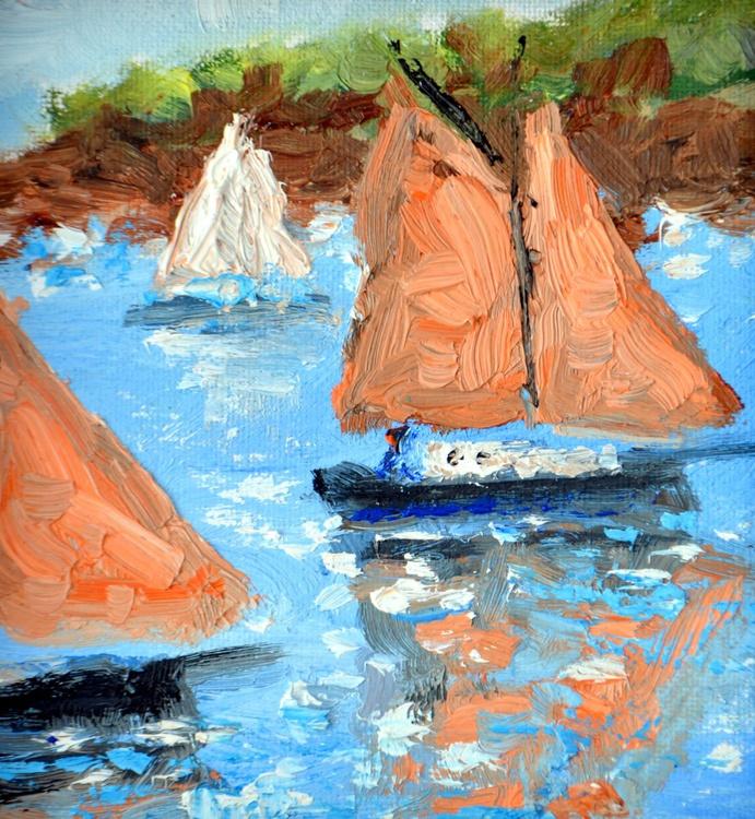 Sailing in Bretagne  in oil - Image 0